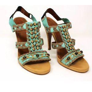 Lanvin Sandals Wood Heel Leather Crochet Beading